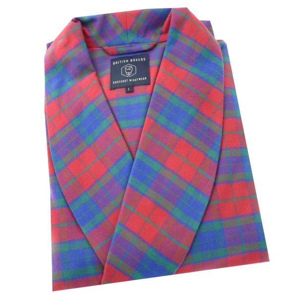 British Boxers - Mens Brushed Cotton Dressing Gown - Bordeaux Check