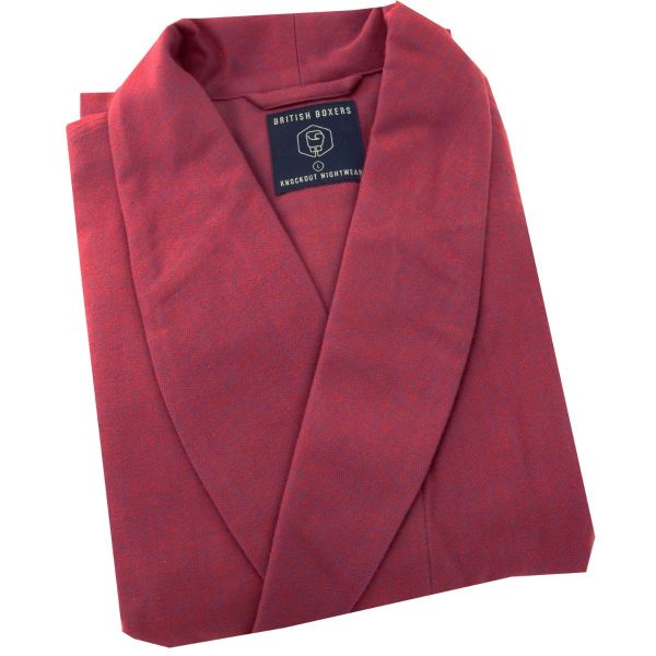 British Boxers - Mens Brushed Cotton Dressing Gown - Rioja
