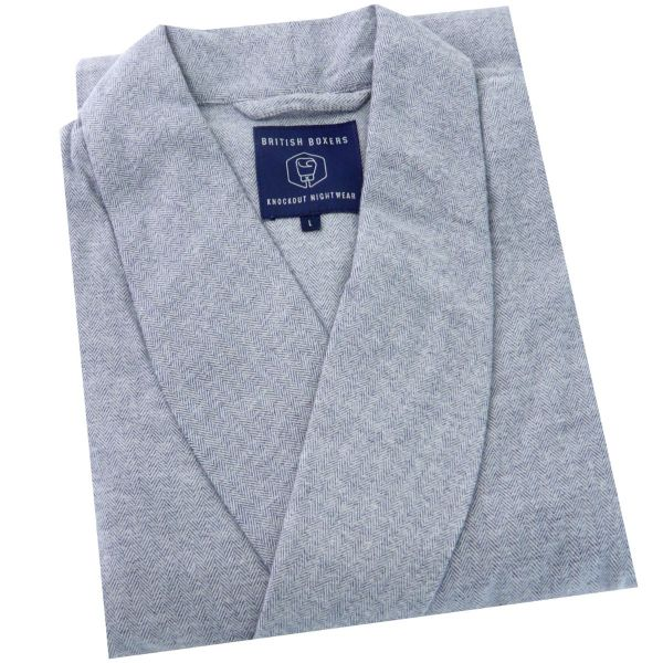 British Boxers - Mens Brushed Cotton Dressing Gown - Ash Grey