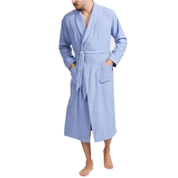 British Boxers - Mens Brushed Cotton Dressing Gown - Staffordshire Blue