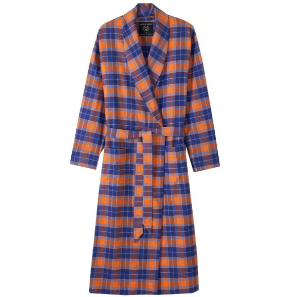 British Boxers - Mens Brushed Cotton Dressing Gown - Tangerine Dream