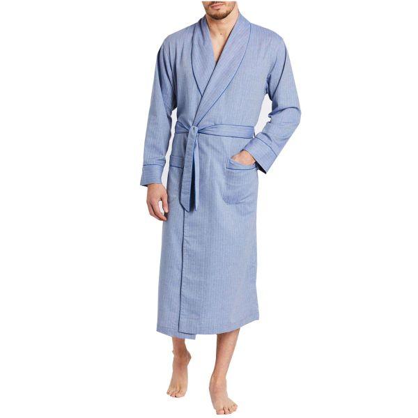 British Boxers - Mens Cotton Twill Dressing Gown - Garrison Blue