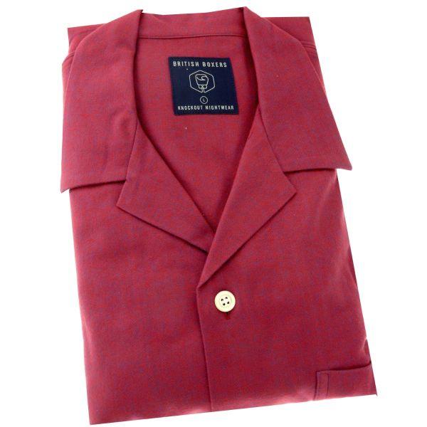 British Boxers - Mens Brushed Cotton Pyjamas - Rioja Herringbone
