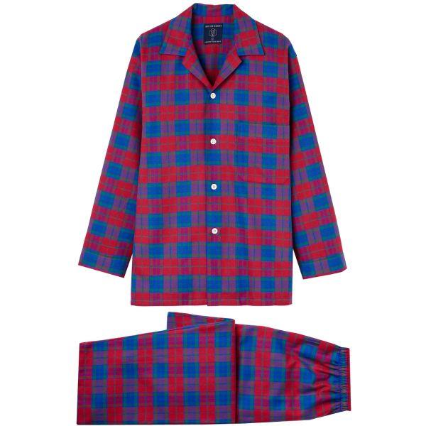 British Boxers - Mens Brushed Cotton Pyjamas - Bordeaux Check
