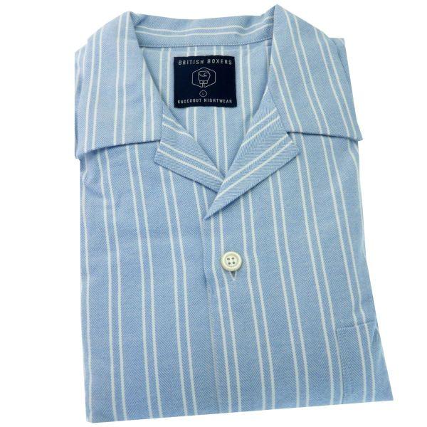 British Boxers - Mens Brushed Cotton Pyjamas - Westwood Blue and White Stripe