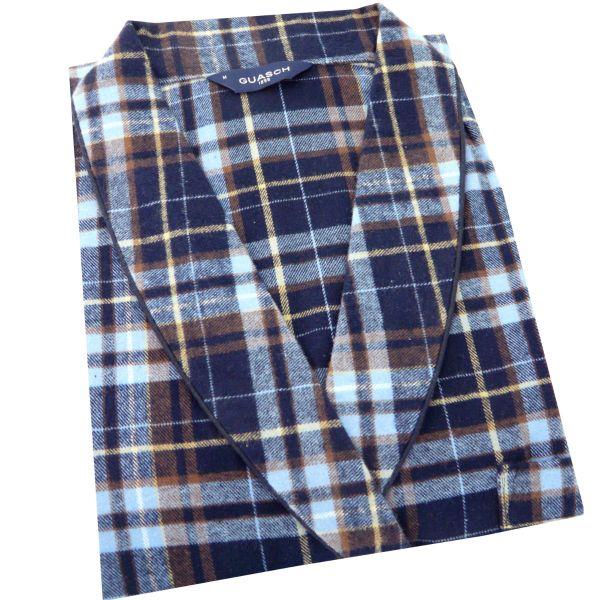 Guasch - Mens Cotton Gown - Navy Check