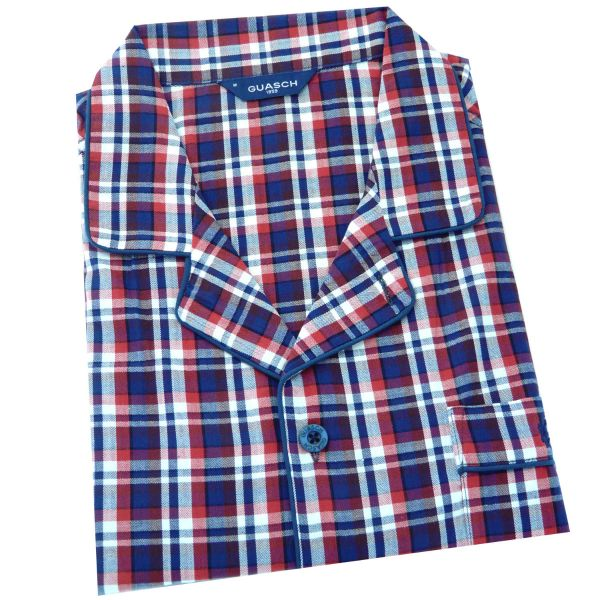 Guasch - Mens Cotton Pyjamas in Navy and Red Check