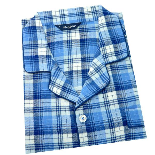 Guasch - Mens Cotton Pyjamas in Blue Check