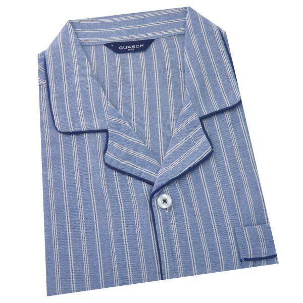 Guasch - Mens Cotton Pyjamas in Blue with White Stripe