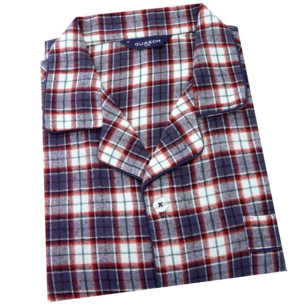 Guasch - Brushed Cotton Pyjamas for Men in Navy and Red Check