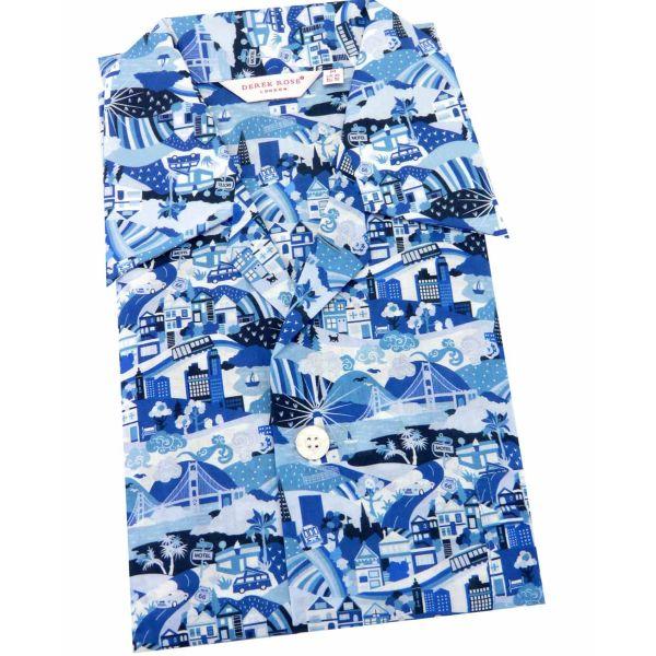 Derek Rose - Mens Cotton Pyjamas - Ledbury 019 - Blue