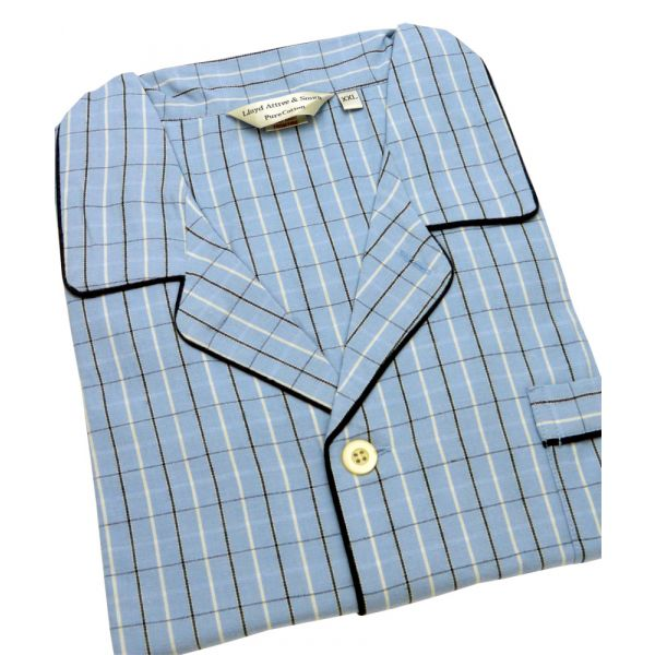 Blue Check Brushed Cotton Flannel Pyjamas