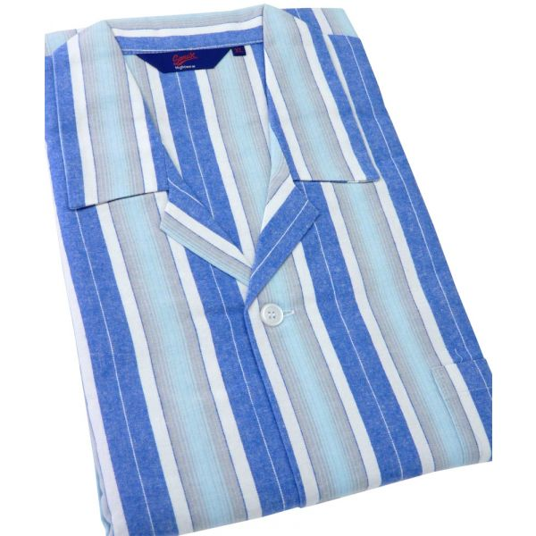 Blue Stripe Flanelette Tie Waist Pyjamas from Somax