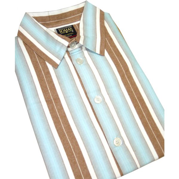 Aqua and Brown Striped Flanellette Men's Nightshirt