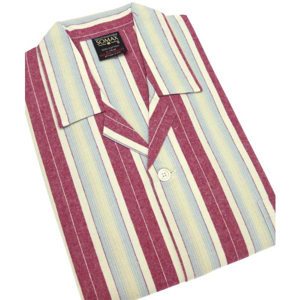 Wine Stripe Flanelette Tie Waist Pyjamas from Somax