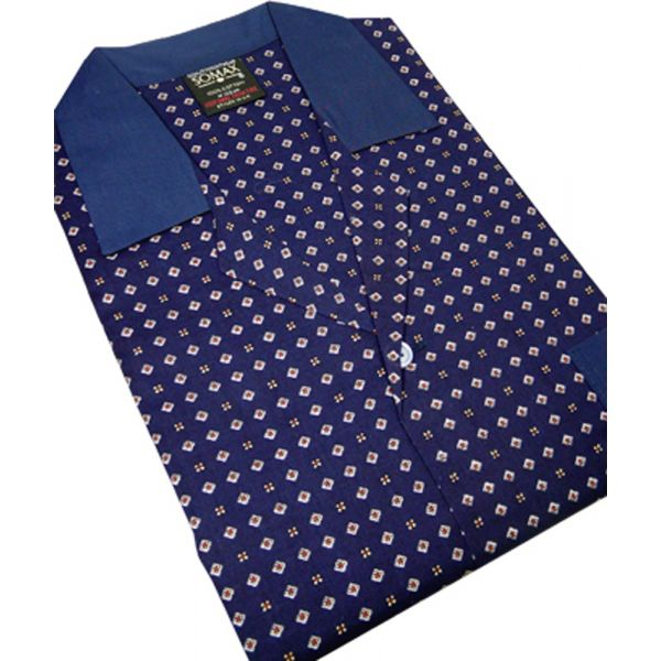 Navy Neat Design Cotton Tie Waist Pyjamas