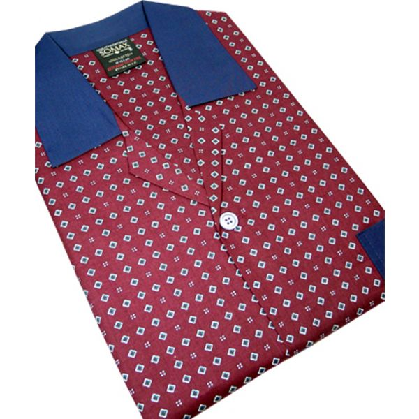 Wine Neat Design Cotton Tie Waist Pyjamas