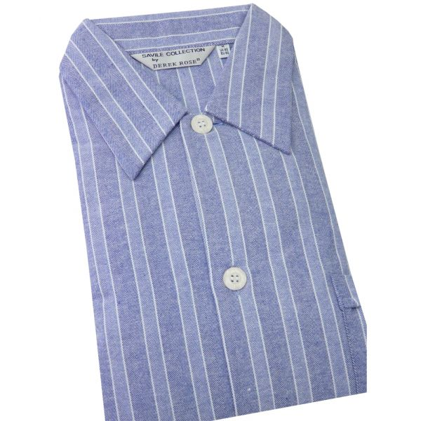 Derek Rose Blue Stripe Brushed Cotton Flannel Night Shirt