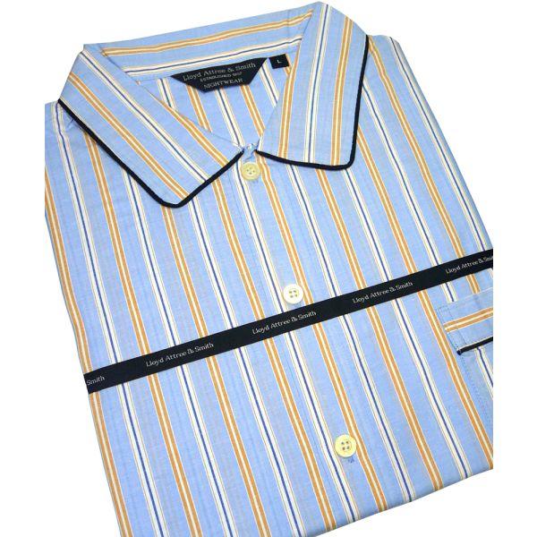Blue and Orange Stripe Cotton Nightshirt