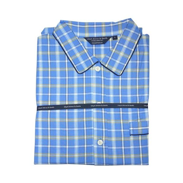 Blue and Yellow Check Cotton Nightshirt