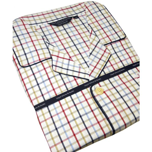 Navy and Red Check Brushed Cotton Check Pyjamas