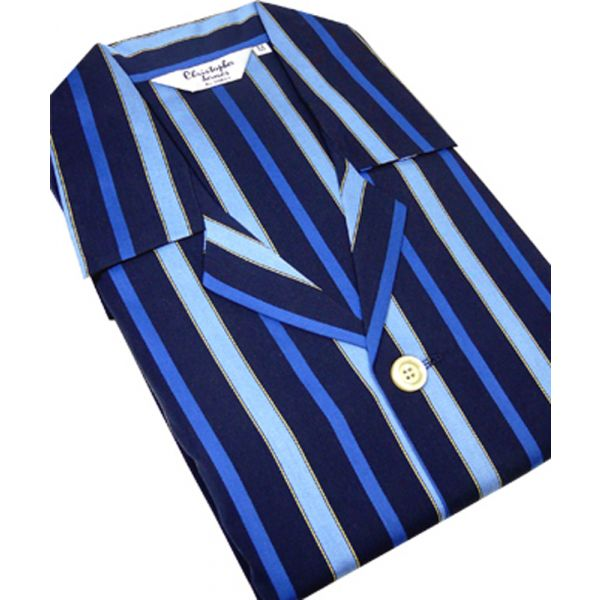 Navy and Royal Stripe Satin Weave Tie Waist Pyjamas