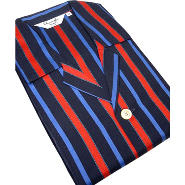 Navy and Red Stripe Satin Weave Tie Waist Pyjamas