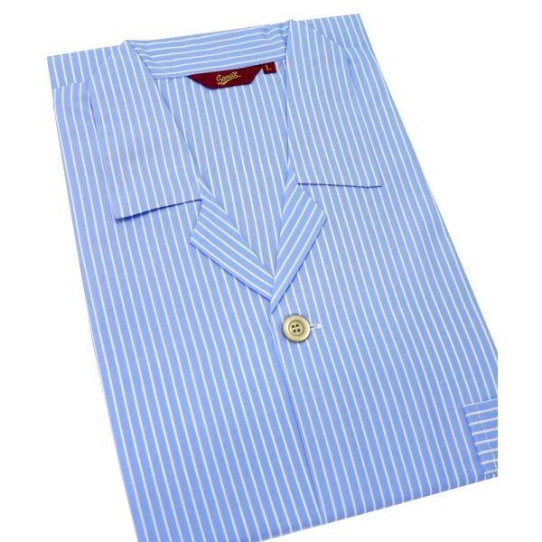 Sky and White Stripe Elastic Waist Pyjamas