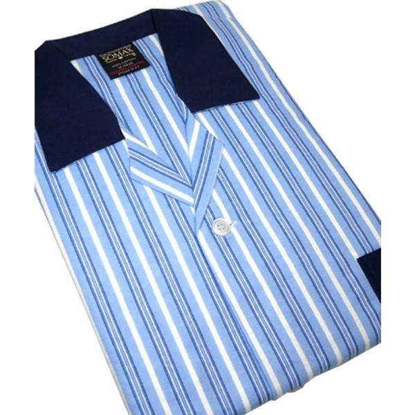 Blue and White Stripe Brushed Cotton Pyjamas