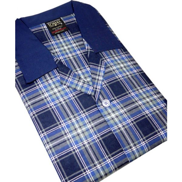 Blue Tartan Brushed Cotton Pyjamas