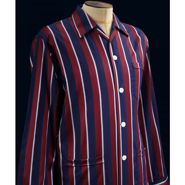 Elastic Waist Cotton Pyjamas in a Regimental Stripe using the colours of The Royal Air Force (RAF). From Derek Rose.