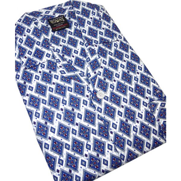Navy Diamonds Brushed Cotton Elastic Waist Pyjamas from Somax