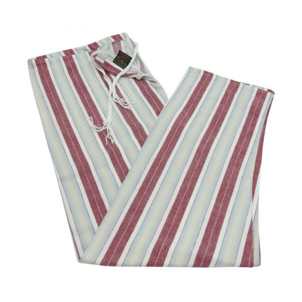 Wine Stripe Brushed Cotton Tie Waist Pyjama Bottoms