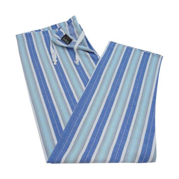 Blue Stripe Brushed Cotton Tie Waist Pyjama Bottoms