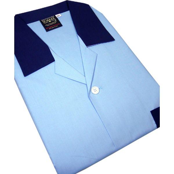 Sky Blue Easycare Men's Tie Waist Pyjamas.
