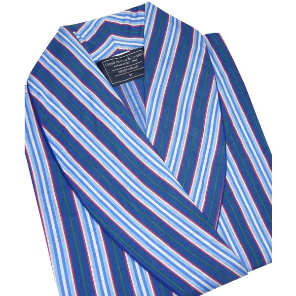 Navy, Blue, Red and Green Stripe Cotton Gown from Lloyd Attree & Smith