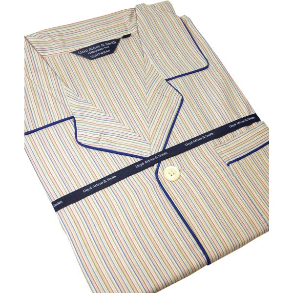 Beige, Red & Blue Stripe Cotton Poplin Pyjamas