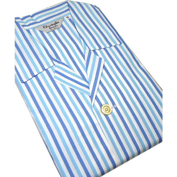 Christopher James Tie Waist Cotton Pyjamas Blue White & Turquoise Stripe