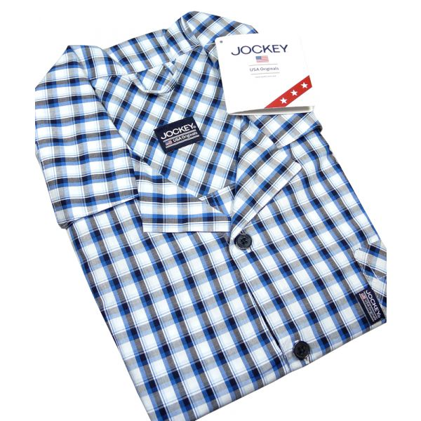 Mens Navy Check Cotton Shortie Pyjamas from Jockey