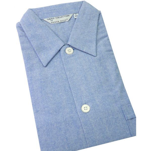 Blue Open Front Brushed Cotton Mens Nightshirt from Derek Rose.