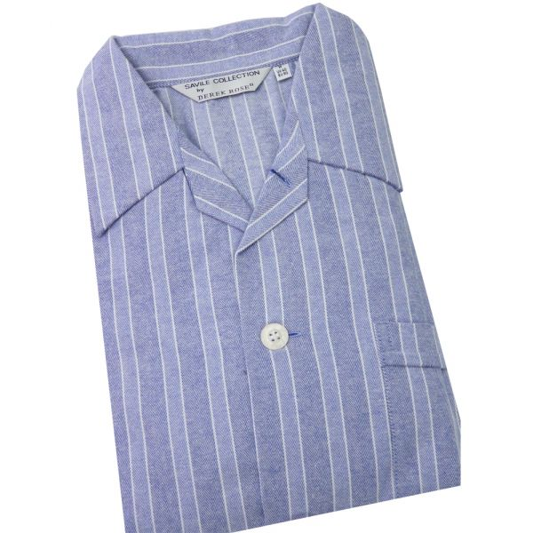 Derek Rose - Arran - Mens Elastic Waist Brushed Cotton Pyjamas in Blue
