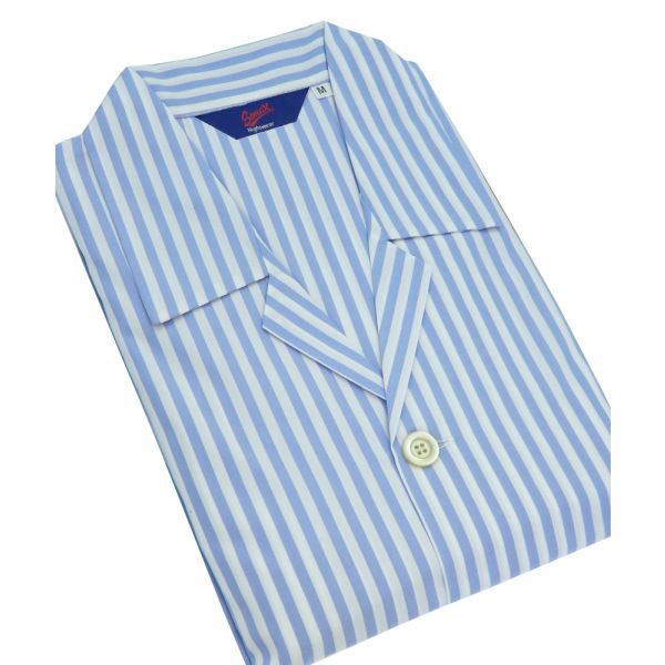 Sky Blue and White Stripe Mens Shortie Pyjamas from Christopher James by Somax