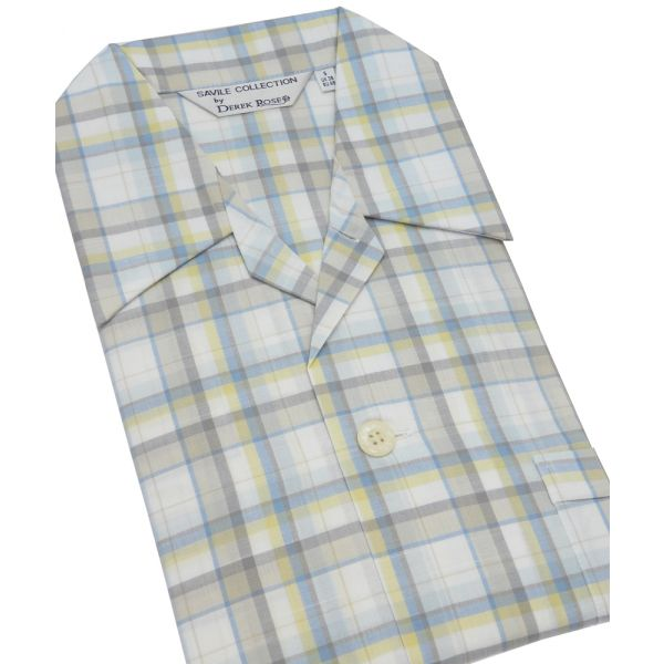 Multi Check Elastic Waist Cotton Pyjamas from Derek Rose