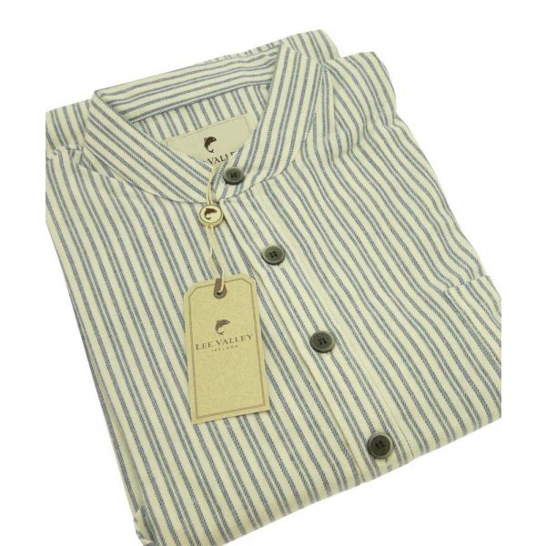 Blue and Ivory Striped Lee Valley Ireland Flannel Nightshirt - LV2