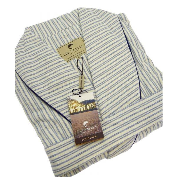 Blue and Ivory Stripe Lee Valley Flannel Nightrobe