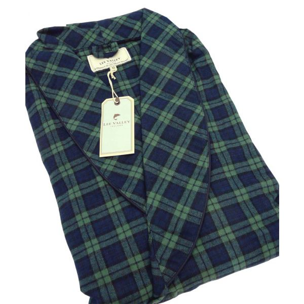 Navy and Green Check Lee Valley Flannel Nightrobe