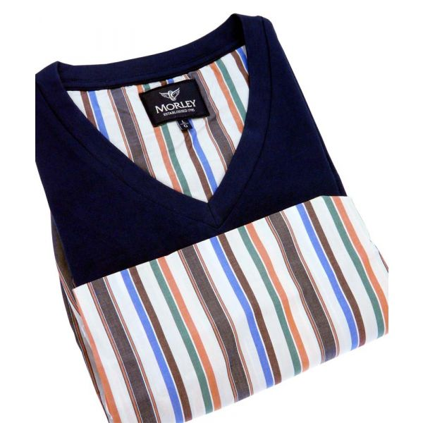 Orange Stripe Cotton Shortie Pyjamas from Morley