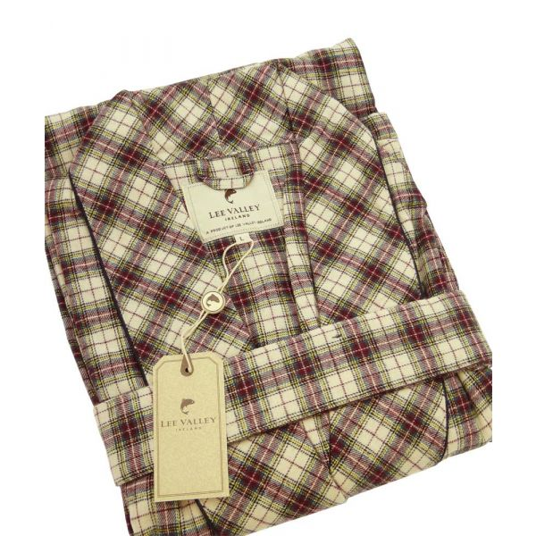 Maroon and White Tartan Flannel Gown from Lee Valley