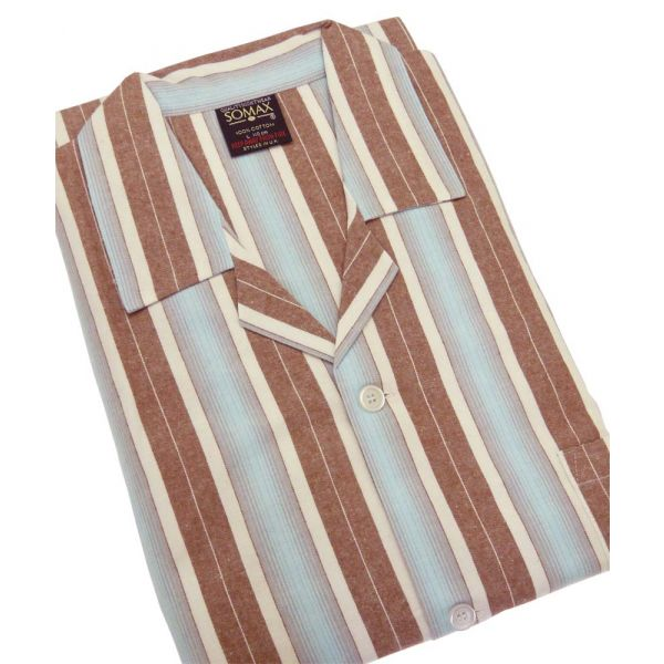 Aqua and Brown Stripe Flanelette Tie Waist Pyjamas from Somax