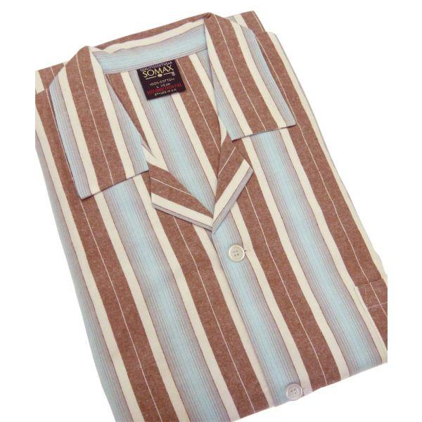 Aqua and Brown Stripe Flanelette Tie Waist Pyjamas from Somax